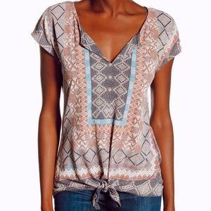• LUCKY BRAND • boho printed short sleeve tie top